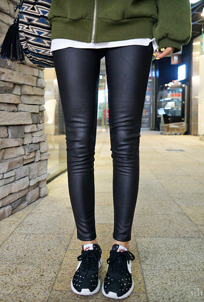 Synthetic Leather Stretch Pants