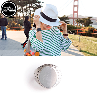[IMVELY X IMFRICA] Reflective Top Silver-Tone Ring