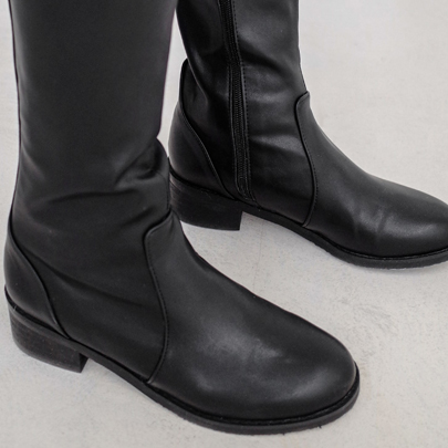 Low-Heeled Tall Boots
