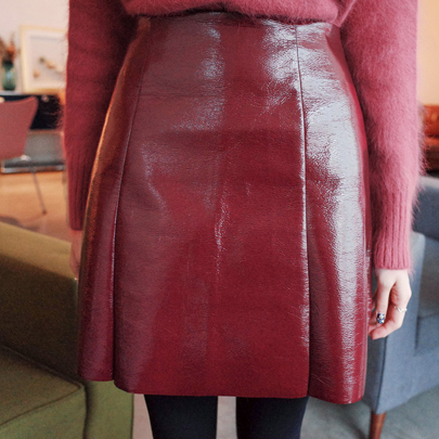 Front Pleat Glossy Pleather Skirt