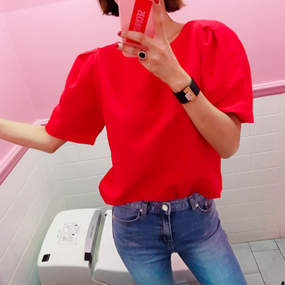 Boat Neck Puff Sleeve Red Blouse