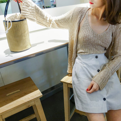 Ribbed Cardigan and Camisole Set