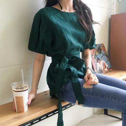 Tie-Waist Pleated Sleeve Blouse