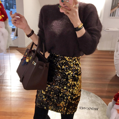 Gold Sequined Mini Skirt