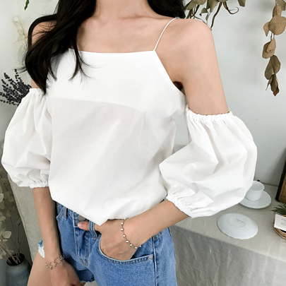 Balloon Sleeve Cold-Shoulder Blouse