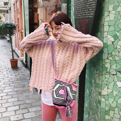 Chunky Twist Knit Pink Sweater