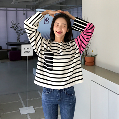 Color Block Striped Knit Top