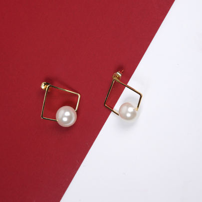 Square Accent Faux Pearl Earrings