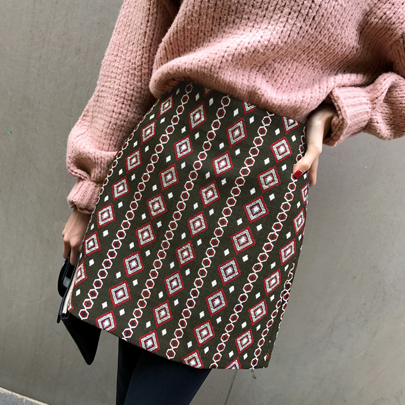 Mix Pattern A-Line Skirt