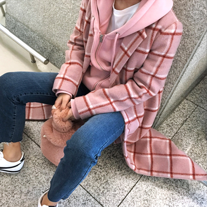 Long Pink Checkered Coat