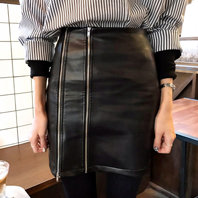 Double Zip Pleather Skirt
