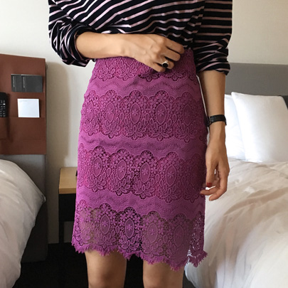 Patterned H-Line Lace Skirt