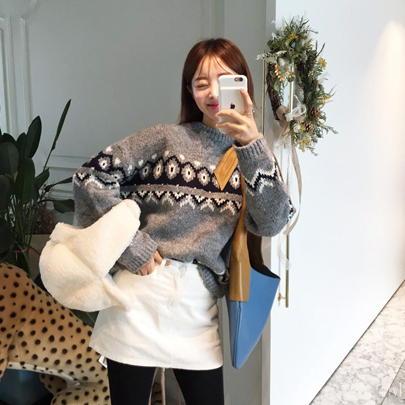 Patterned High Neck Knit Sweater