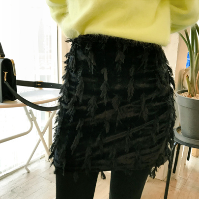 Feather Accent H-Line Skirt