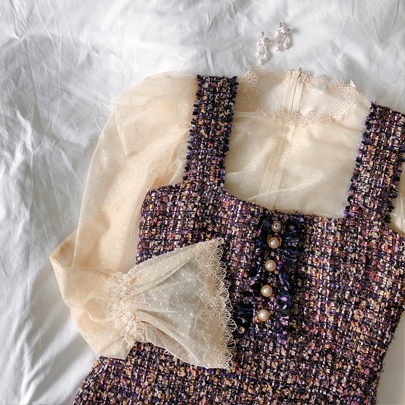 Lace Trim Dotted Sheer Blouse