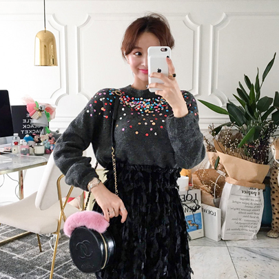 Sequin Embellished Knit Sweater