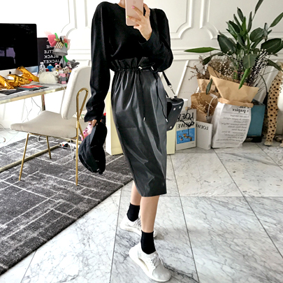 Drawstring Waist Coated Skirt