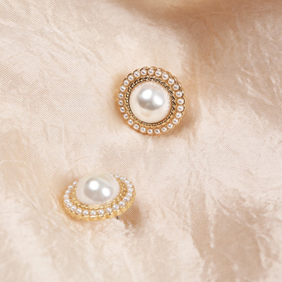 Beaded Faux Pearl Stud Earrings
