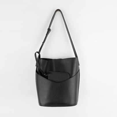 Slip Pocket Solid Tone Bucket Bag