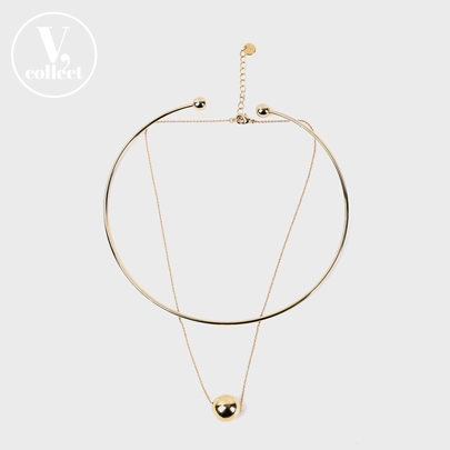 [V,Collect] Gold Ball Pendant Necklace and Cuff Necklace Set
