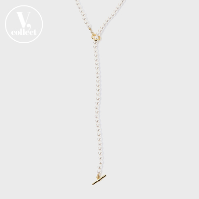 [V,Collect] Long Faux Pearl Toggle Necklace
