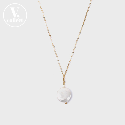 [V,Collect] Flat Pearl Chain Necklace
