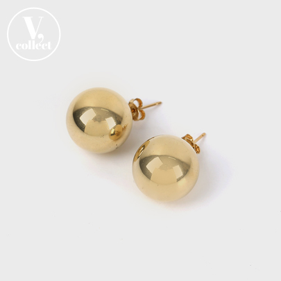 [V,Collect] Big Gold Ball Stud Earrings