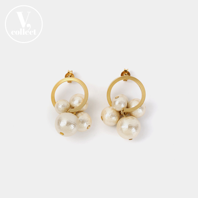 [V,Collect] Cluster Faux Pearl Earrings