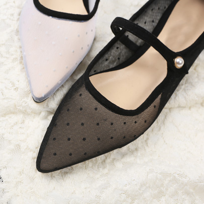 Dotted Mesh Mary Jane Flats