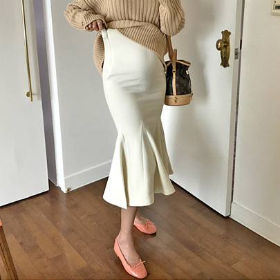 Solid Tone Midi Mermaid Skirt