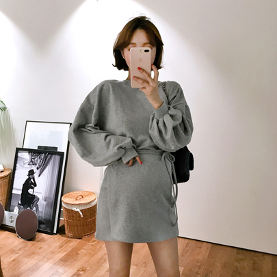 Faux Wrap Sweatshirt Dress