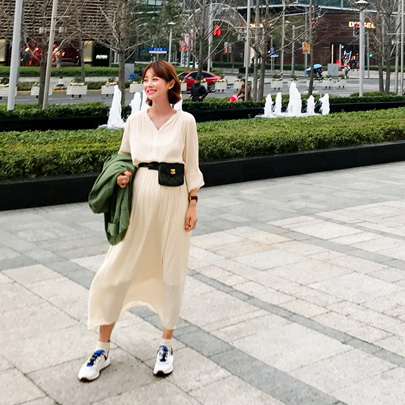 Shirred Maxi Blouson Dress