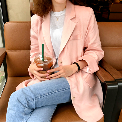 Single-Breasted Pink Linen Blazer