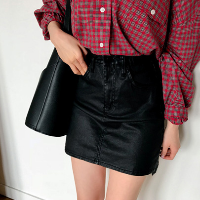 Coated Uneven Hem Mini Skirt