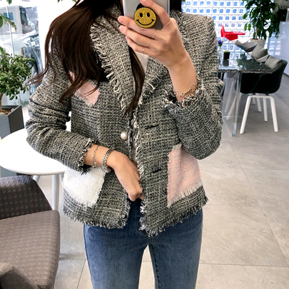 Color Block Frayed Tweed Jacket