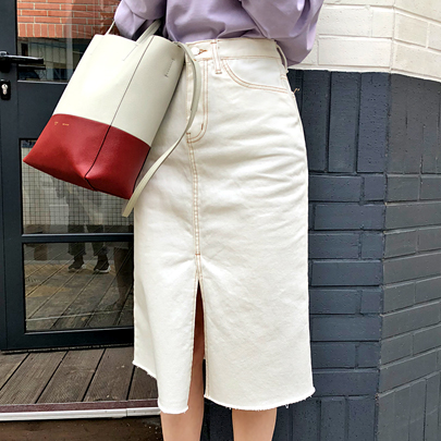 Contrast Stitch Raw Hem Skirt