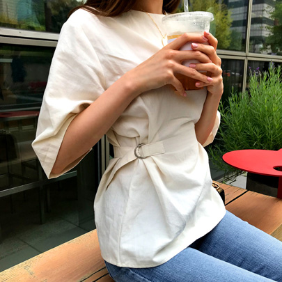 Buckled Side Half Sleeve Blouse