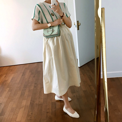 Elastic Waist Long Flared Skirt