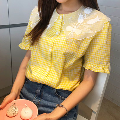 Lace Collar Check Blouse