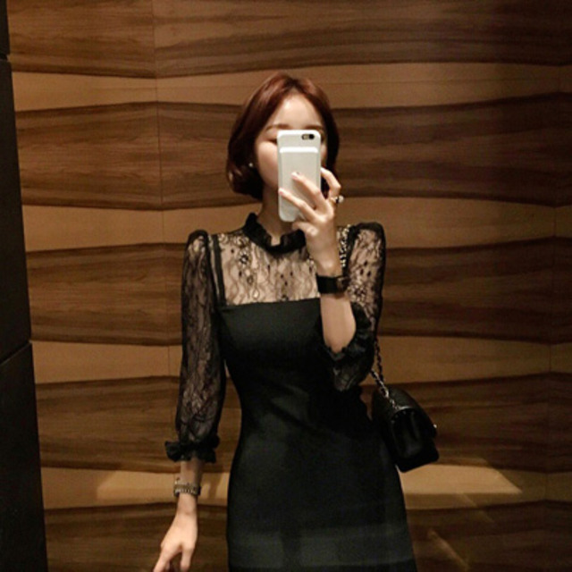 Illusion Neck Lace Dress