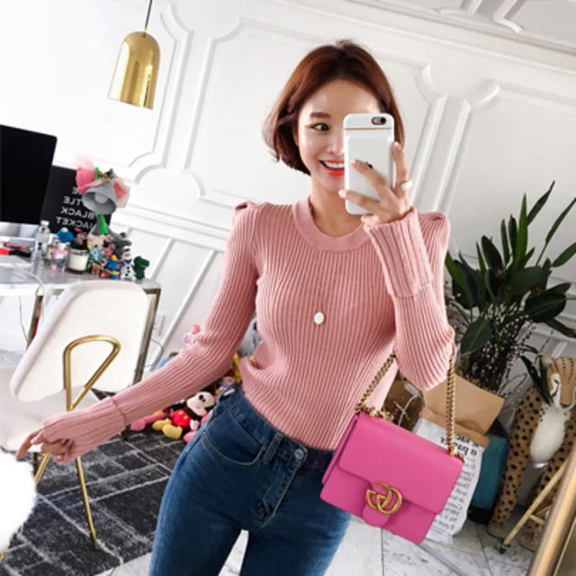 Rib Knit Folded Cuff Sweater