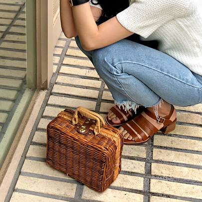 Square Woven Wood Bag
