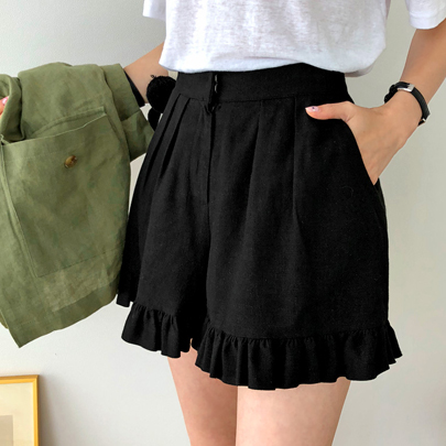 Frilled Hem Pleated Shorts