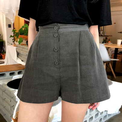 Button-Front Pleated Shorts