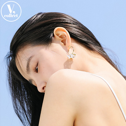 [V,Collect] Crystal Bead Hoop Earrings
