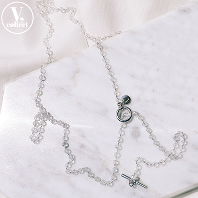 [V,Collect] Crystal Bead Toggle Necklace