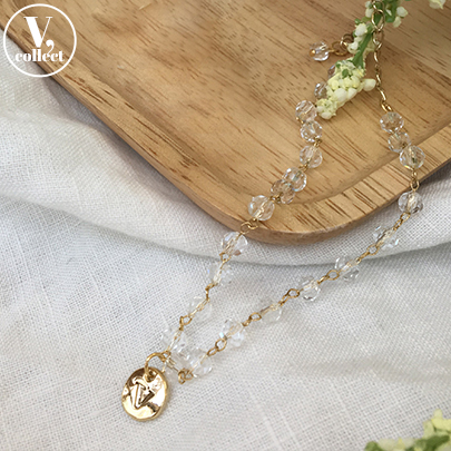 [V,Collect] Disc Pendant Crystal Bead Anklet