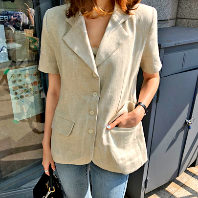 Short Sleeve Herringbone Jacket