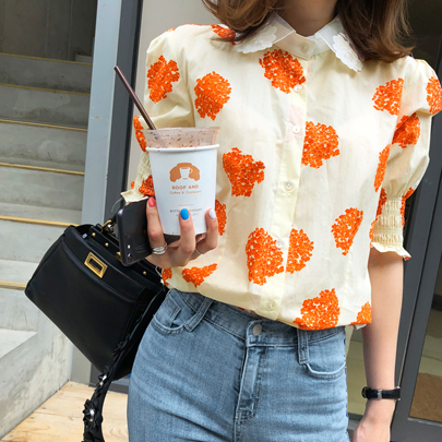 Lace Collar Printed Puff Sleeve Blouse