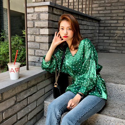 Dotted Dart Tuck Blouse